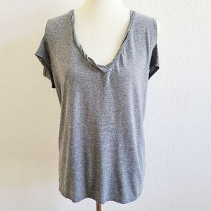 Pam & Gela Grey V Neck Cold Shoulder Tee Medium